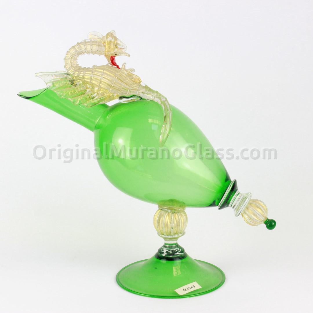 Green Goblet With Dragon - Murano Glass