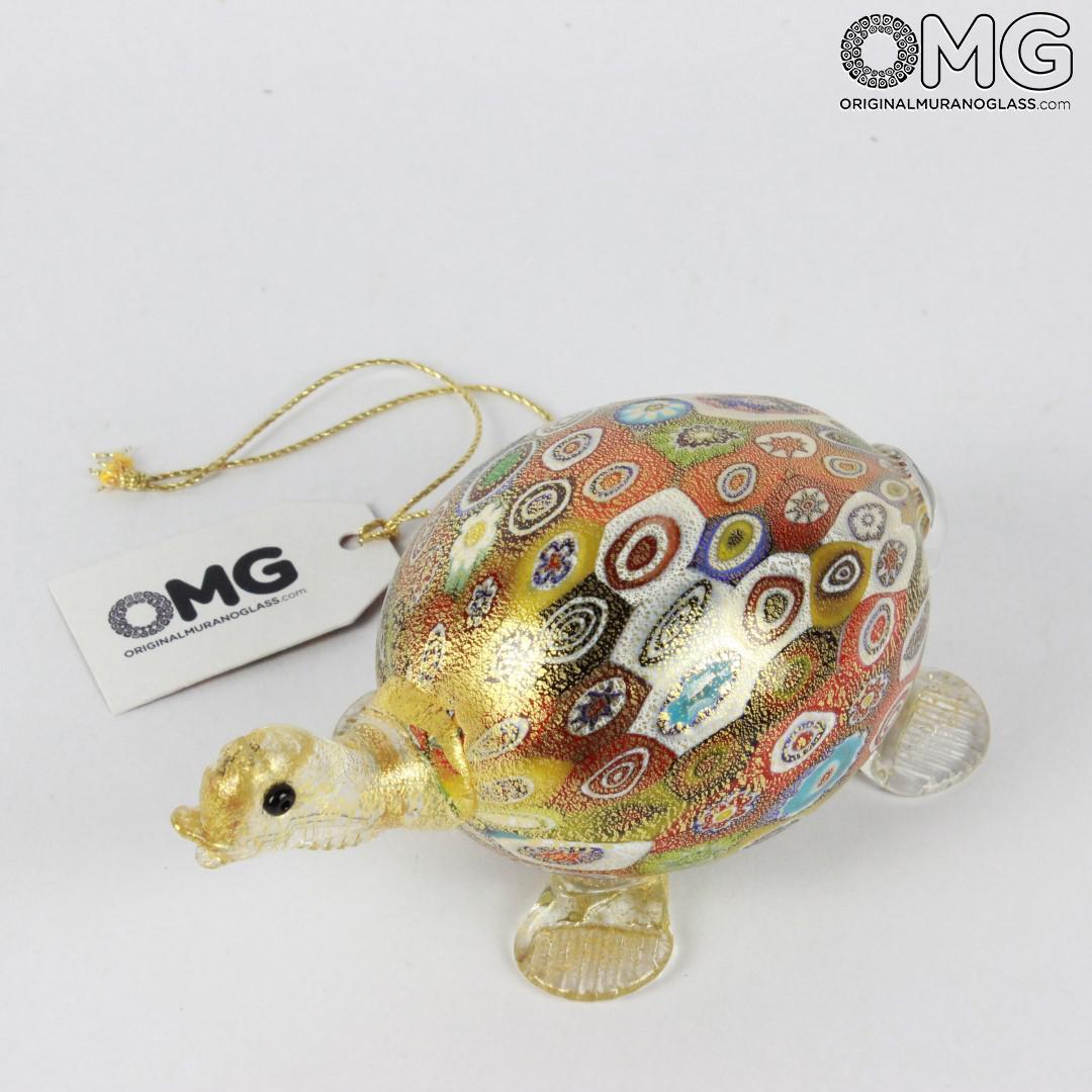 Tartaruga figurina in murrine e oro - Animali - Vetro di Murano Originale OMG