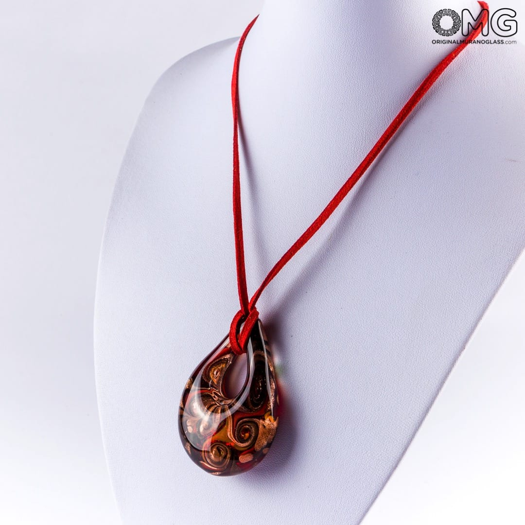 Drop pendant necklace - Red - Original Murano Glass OMG