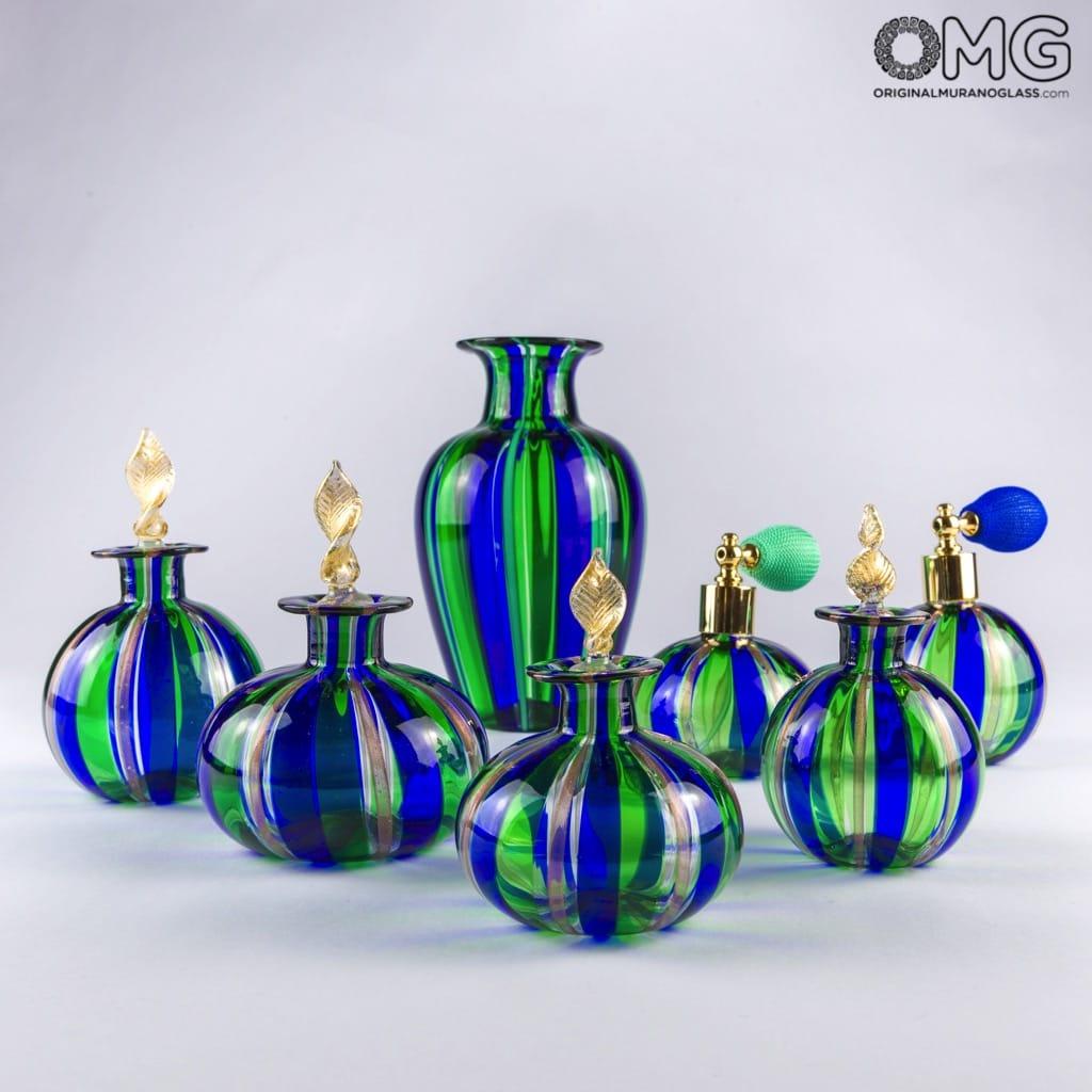 Флакон сине-зелёный для духов с авантюрином из муранского стекла с распылителем - OMG