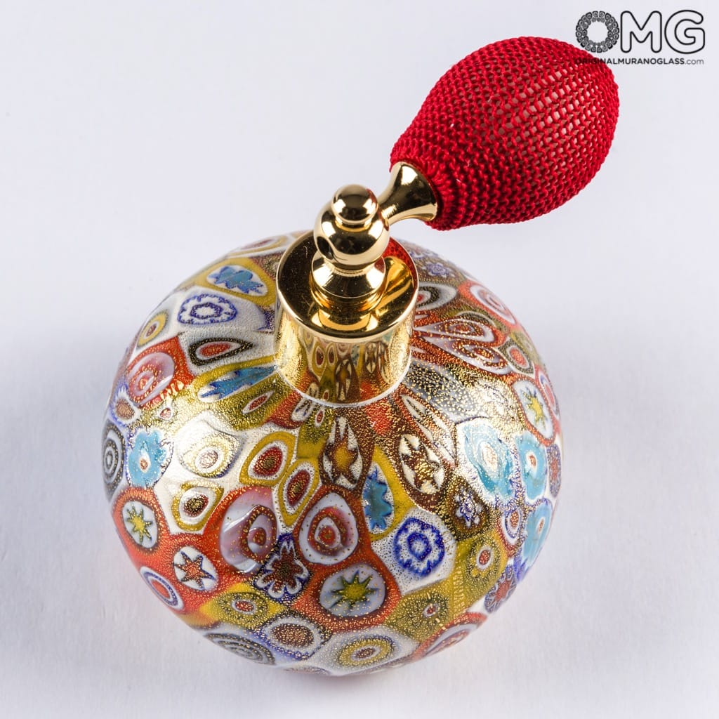 Bottle Perfume Atomizer Gold Millefiori - Different Sizes and Color - Murano Glass