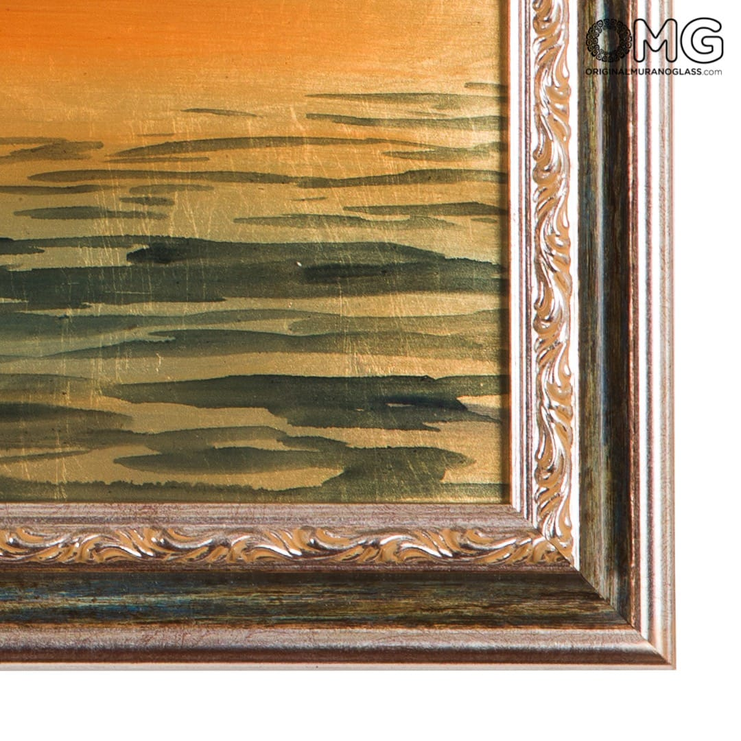 Picture with Frame on Murano Glass Plate - On Gondola with Health church at sunset in Venice - Coloured with gold-like leaf