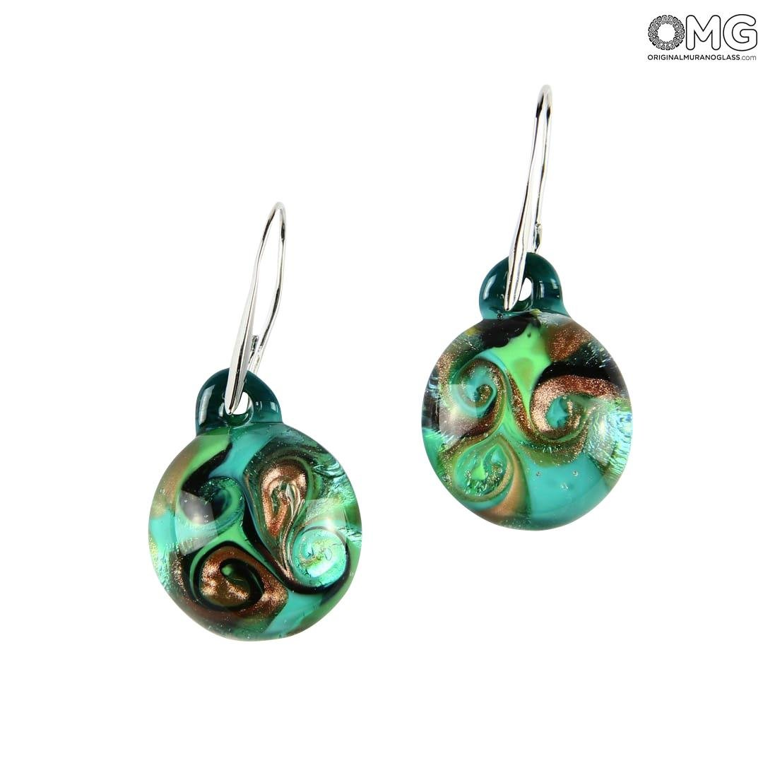 Earrings submerged - Green - Original Murano Glass OMG