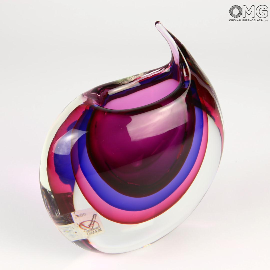 Vase Tiger Purple Sommerso - Murano Glass