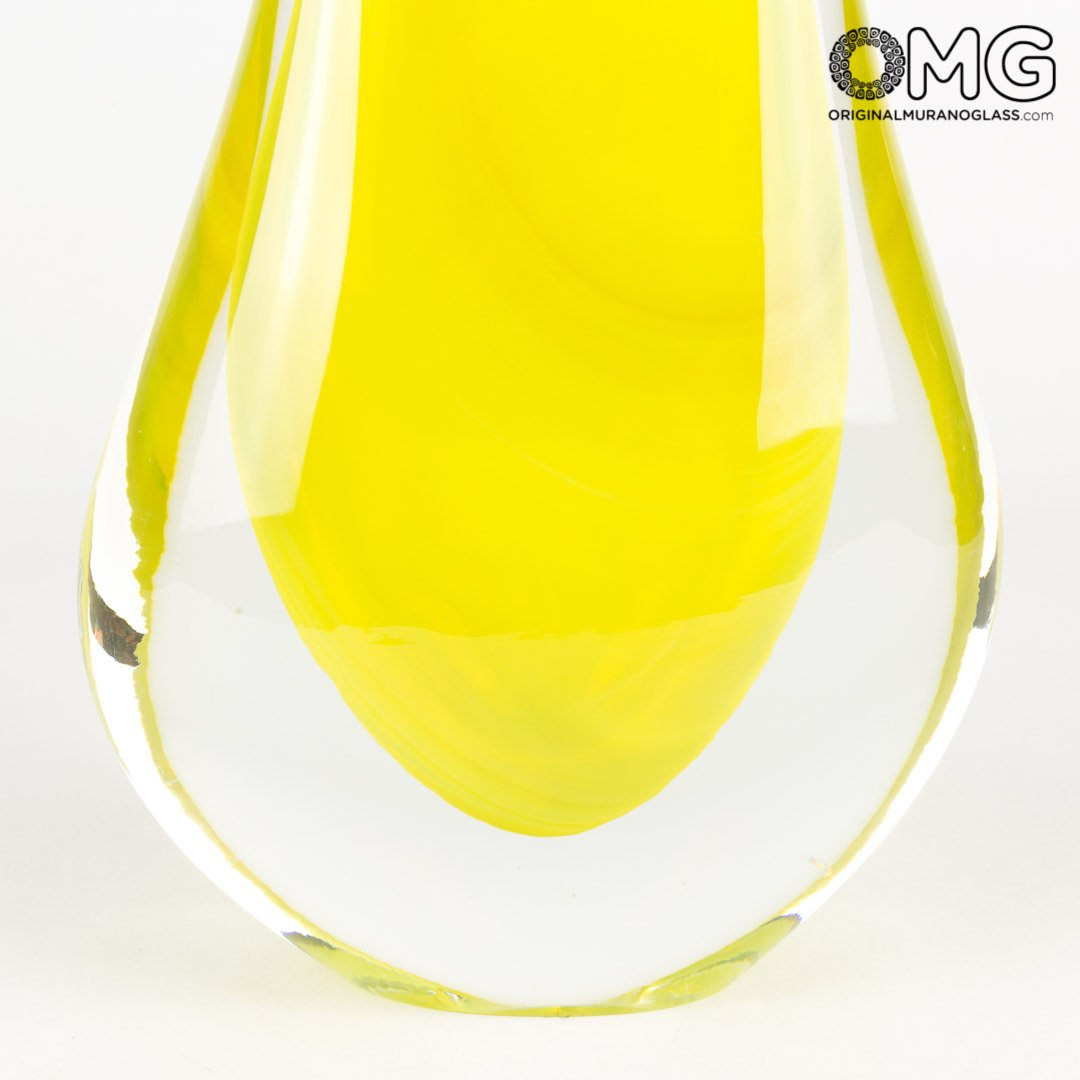 Vase Double Pipe - Yellow Sommerso - Original Murano Glass OMG