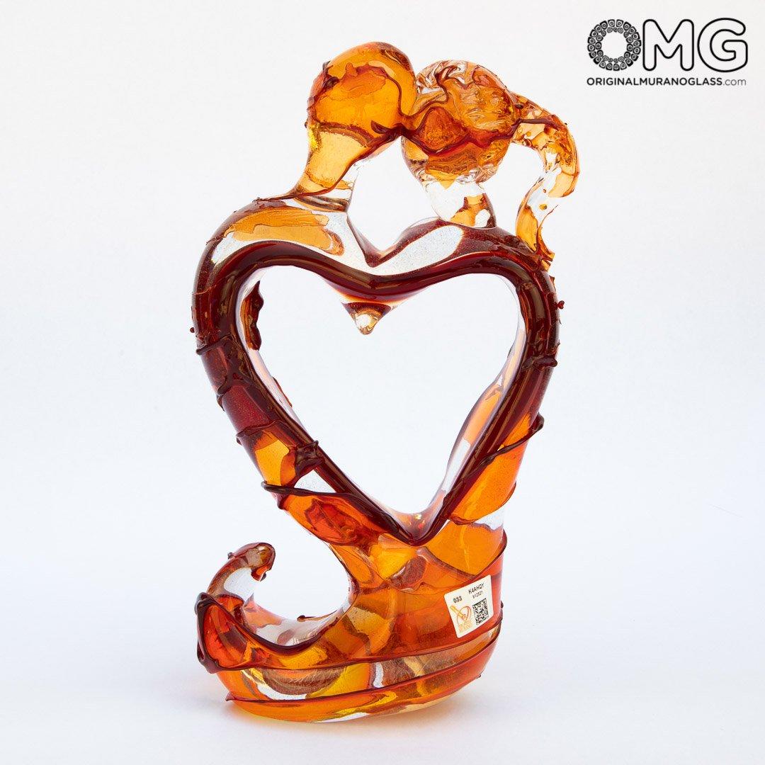 Lovers Sculpture - sbruffy - Red Murano glass