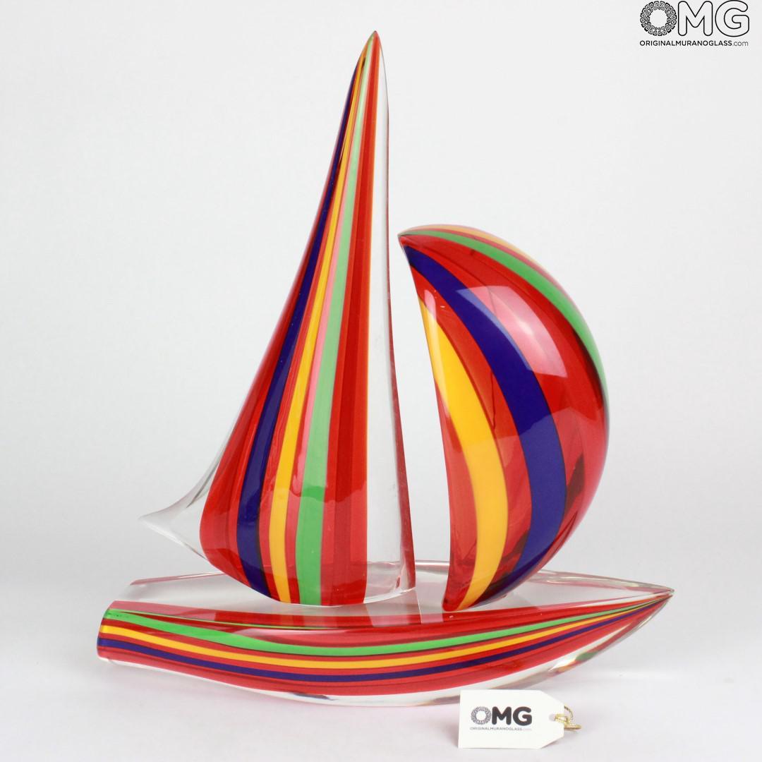 Barca a vela Rossa e misto colore - Scultura in Vetro di Murano