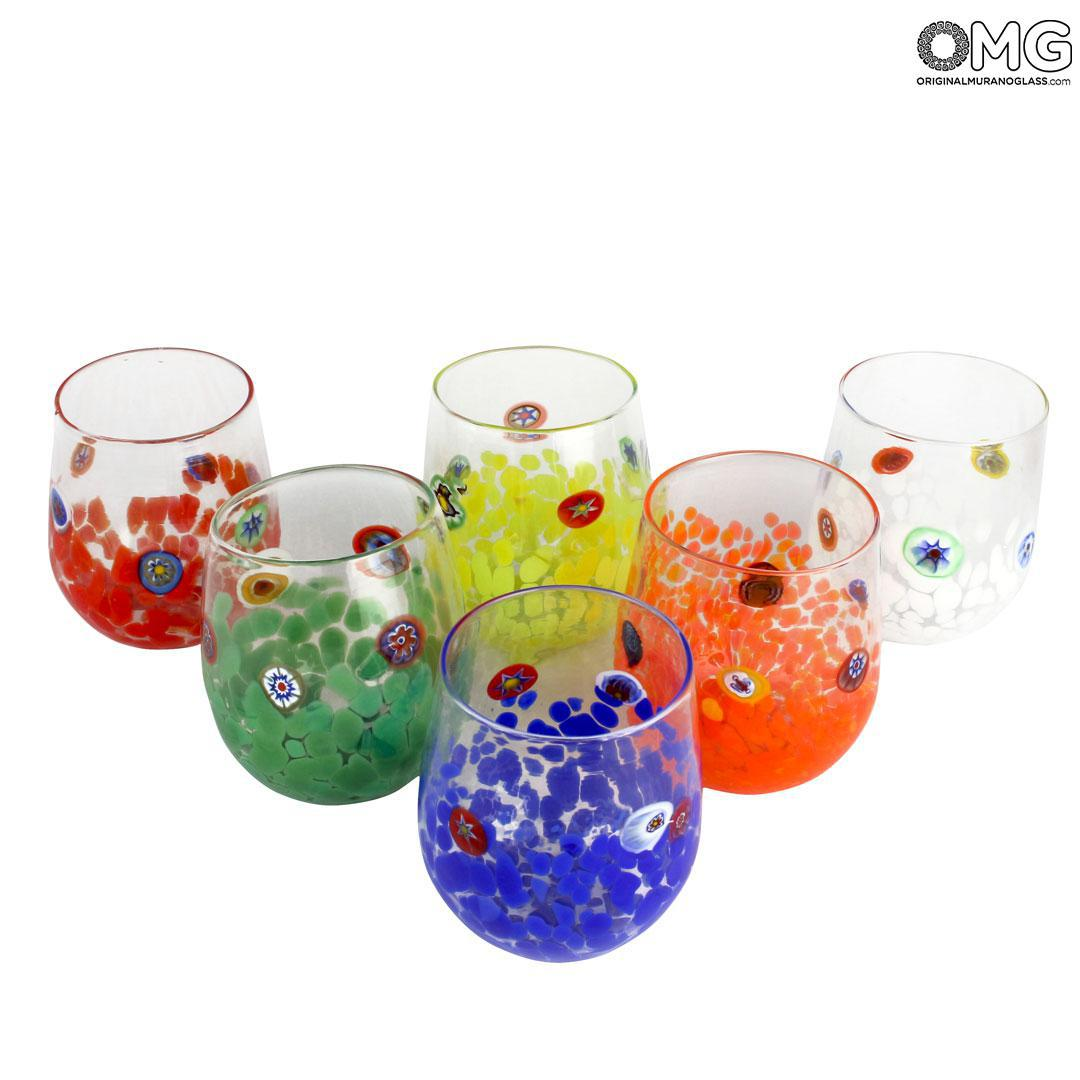 Set of 6 Drinking glasses - Allegro - Original Murano Glass