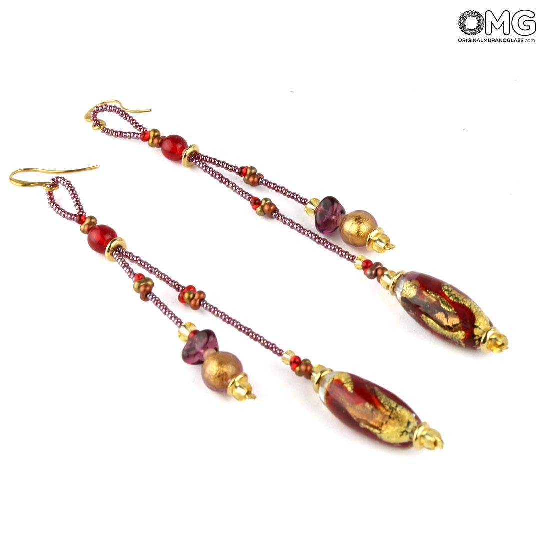 Earrings Aurelia Long - Red - Original Murano Glass OMG