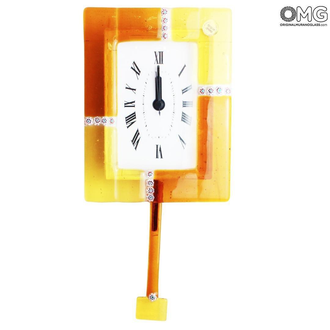 Pendulum Wall Clock - Murrina Orange Yellow - Small