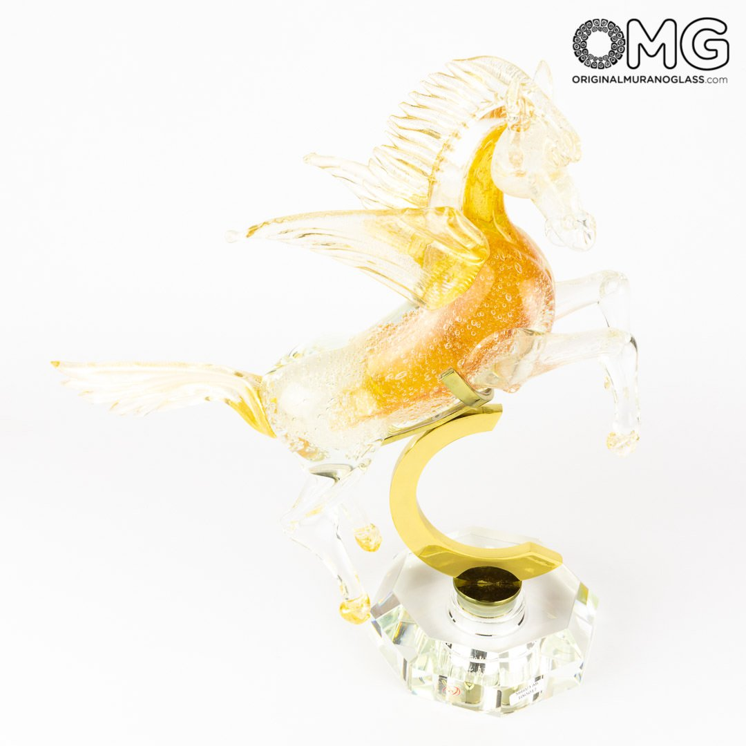 Flying Pegaso - amber - Murano Glass