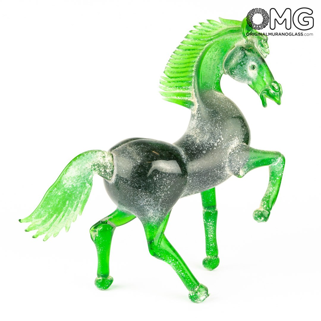 Appaloosa horse - Black - Original Murano Glass OMG