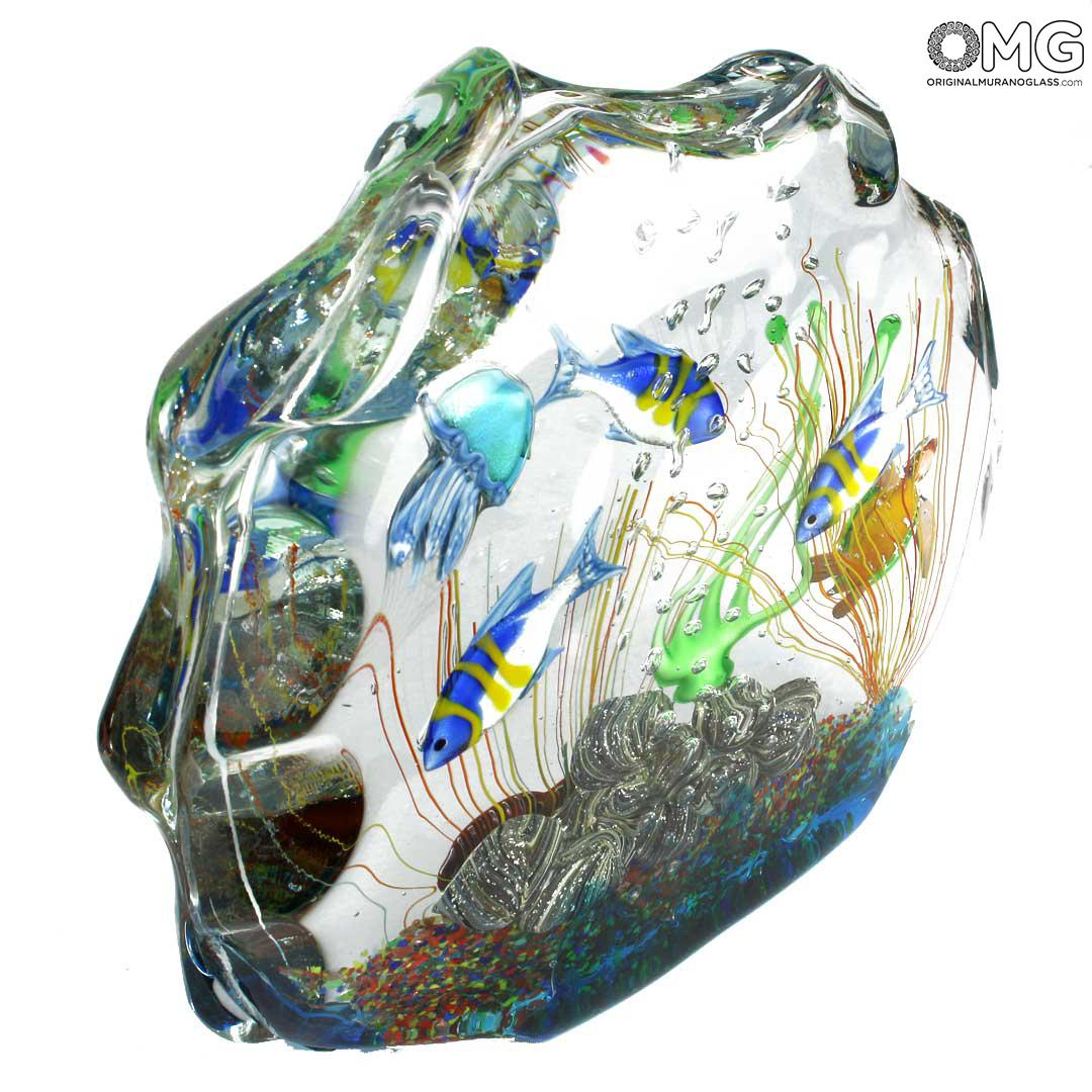 Aquarium Sculpture - with Tropical Fish - Original Murano Glass OMG