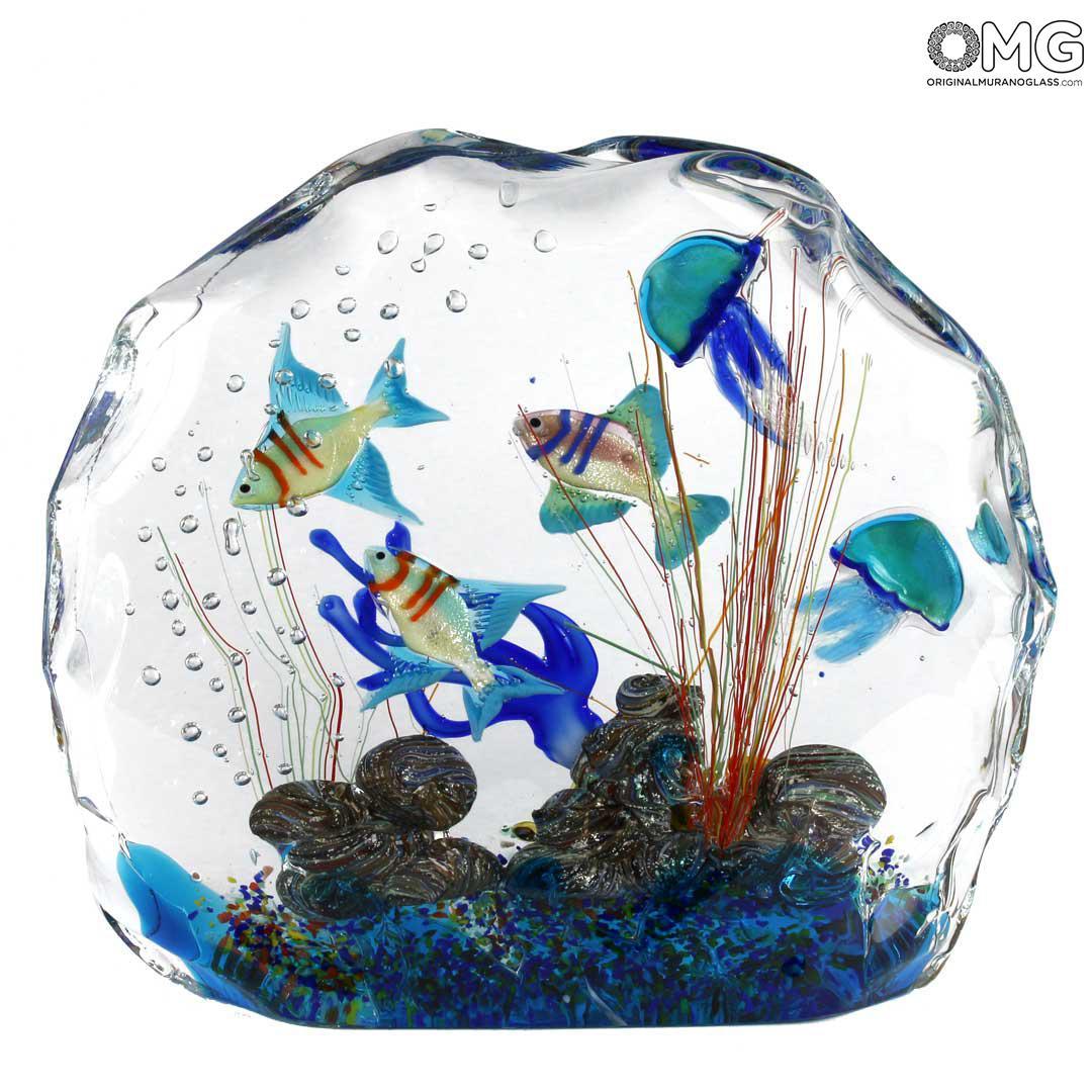 Скульптура Аквариум с тропическими рыбками - муранское стекло OMG