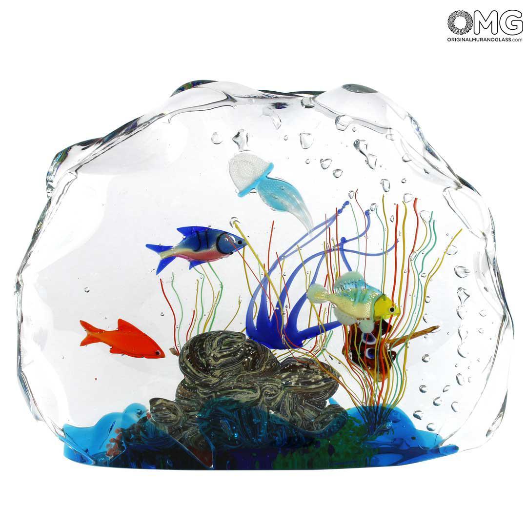 Aquarium Sculpture - with Tropical Fish - Original Murano Glass OMG