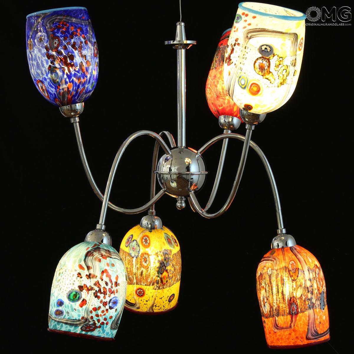 Spicy Argento - Lampada 6 luci - Vetro di Murano originale