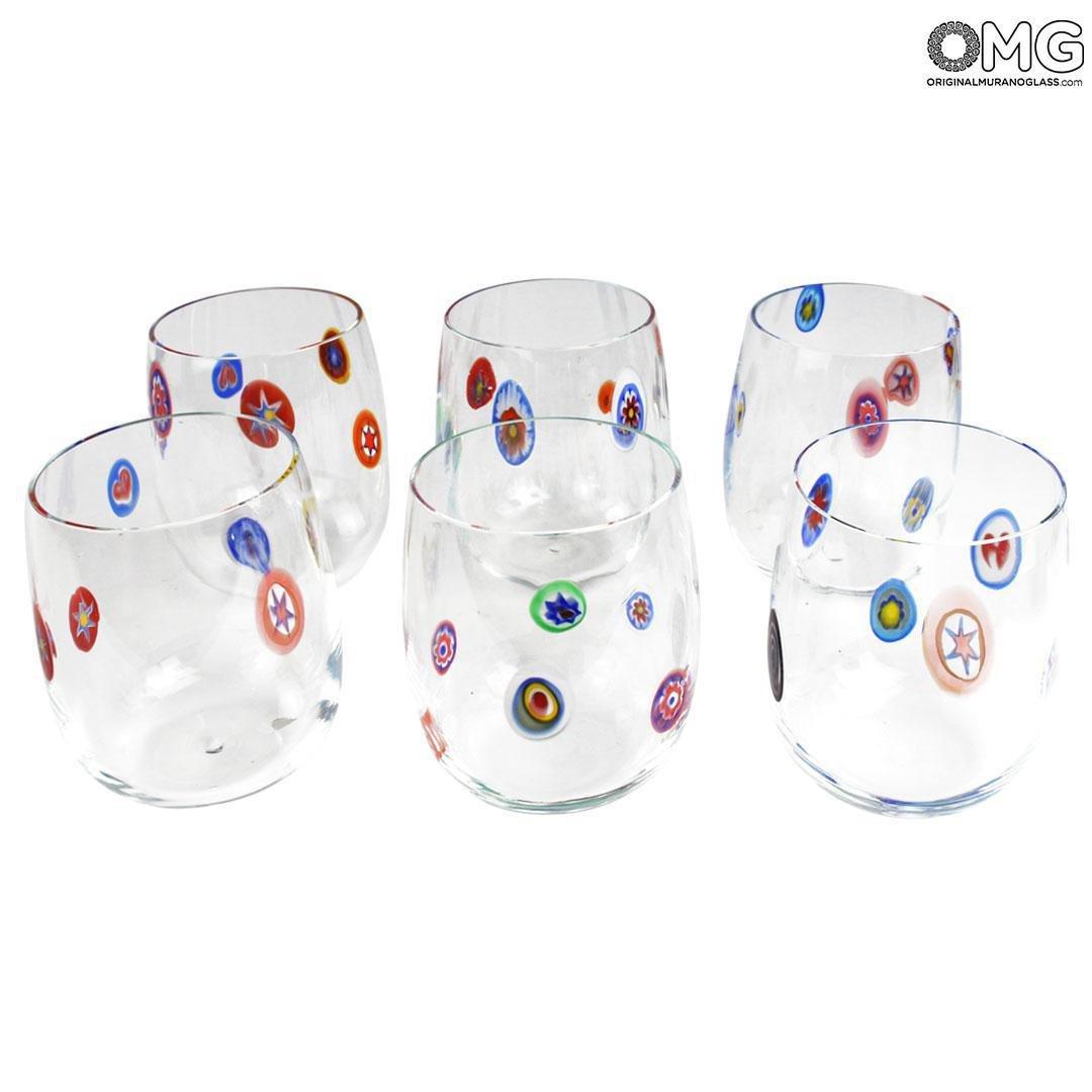 Набор из 6 стаканов - миллефиори - муранское стекло OMG