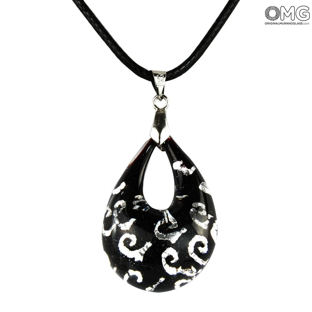 Drop pendant - Black & Silver - Original Murano Glass