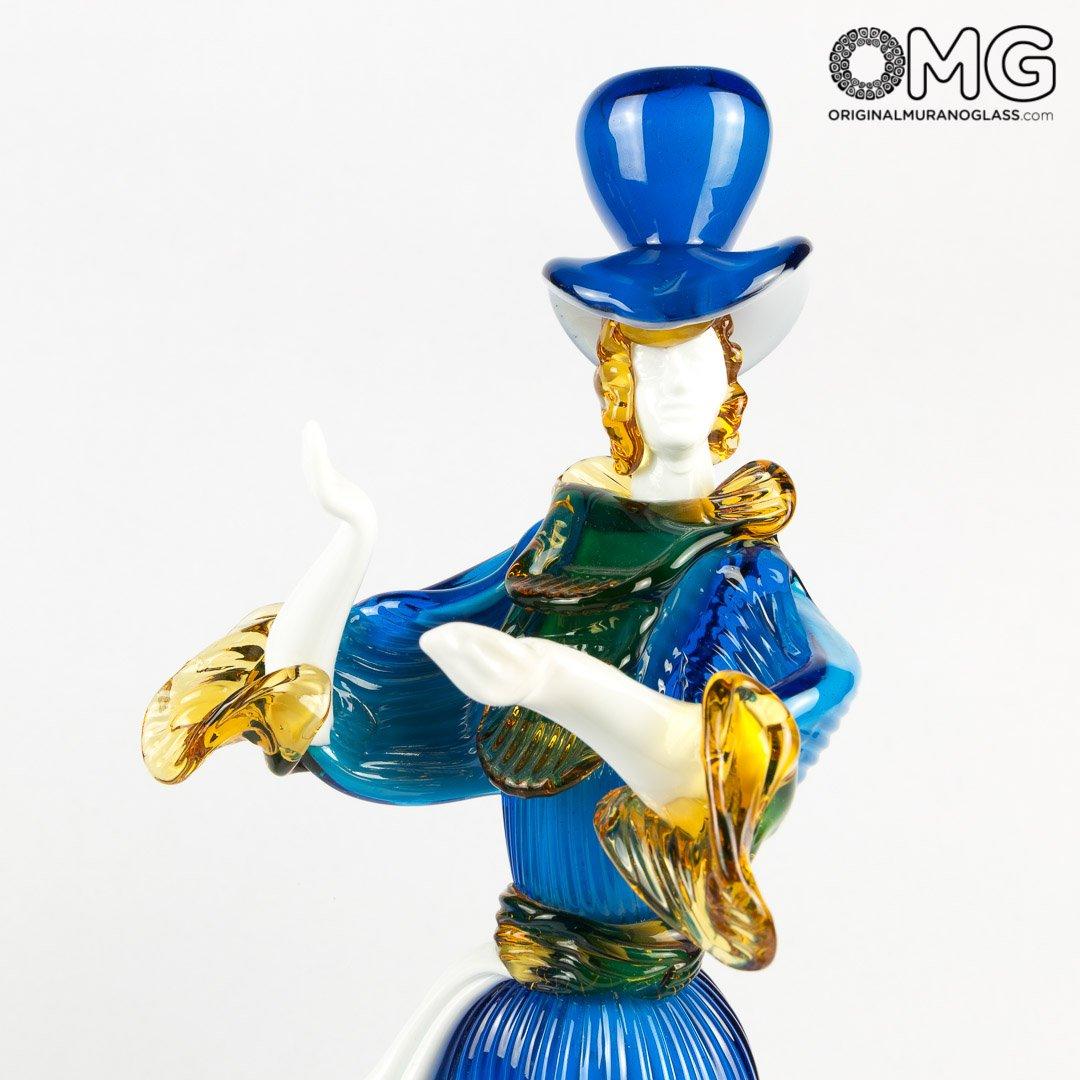 Couple Goldoni Venetian Figurines - Blue - Original Murano Glass OMG