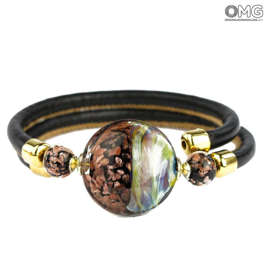 Браслет Великолепный - халцедоновое стекло и авантюрин - муранское стекло OMG