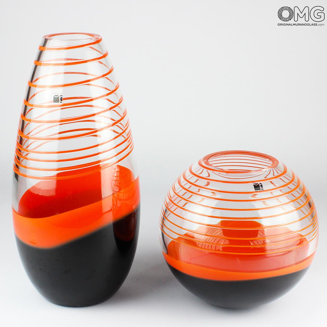 Vase Orange Black - Carlo Moretti - Original Murano Glass OMG