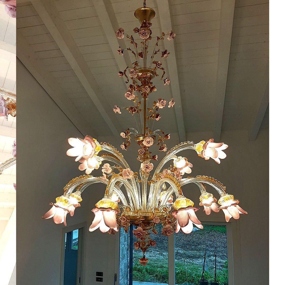 Chandelier Gerbera - Sunflowers - Murano Glass