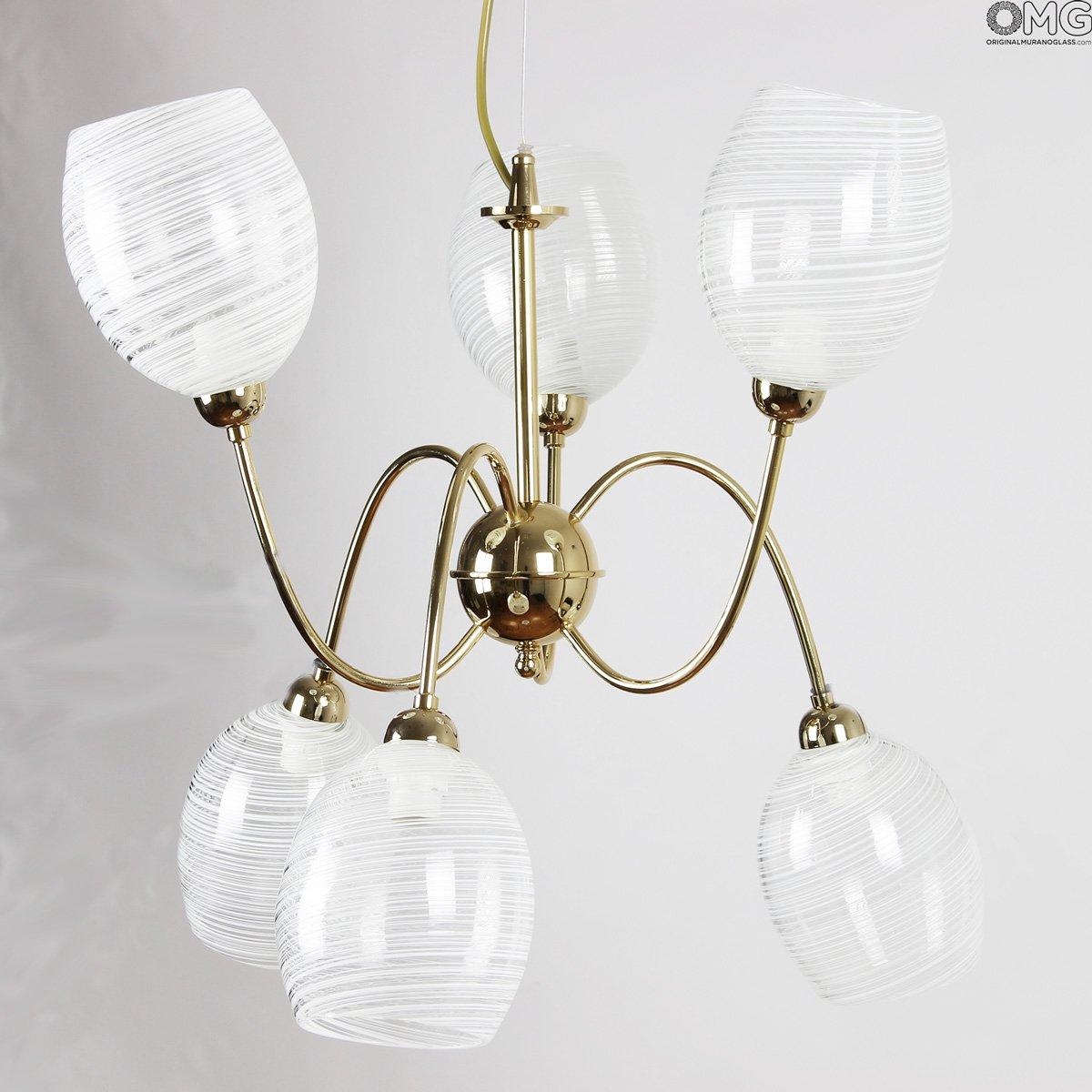 Fantasia Bianca - Lampada 6 luci  - Vetro di Murano originale