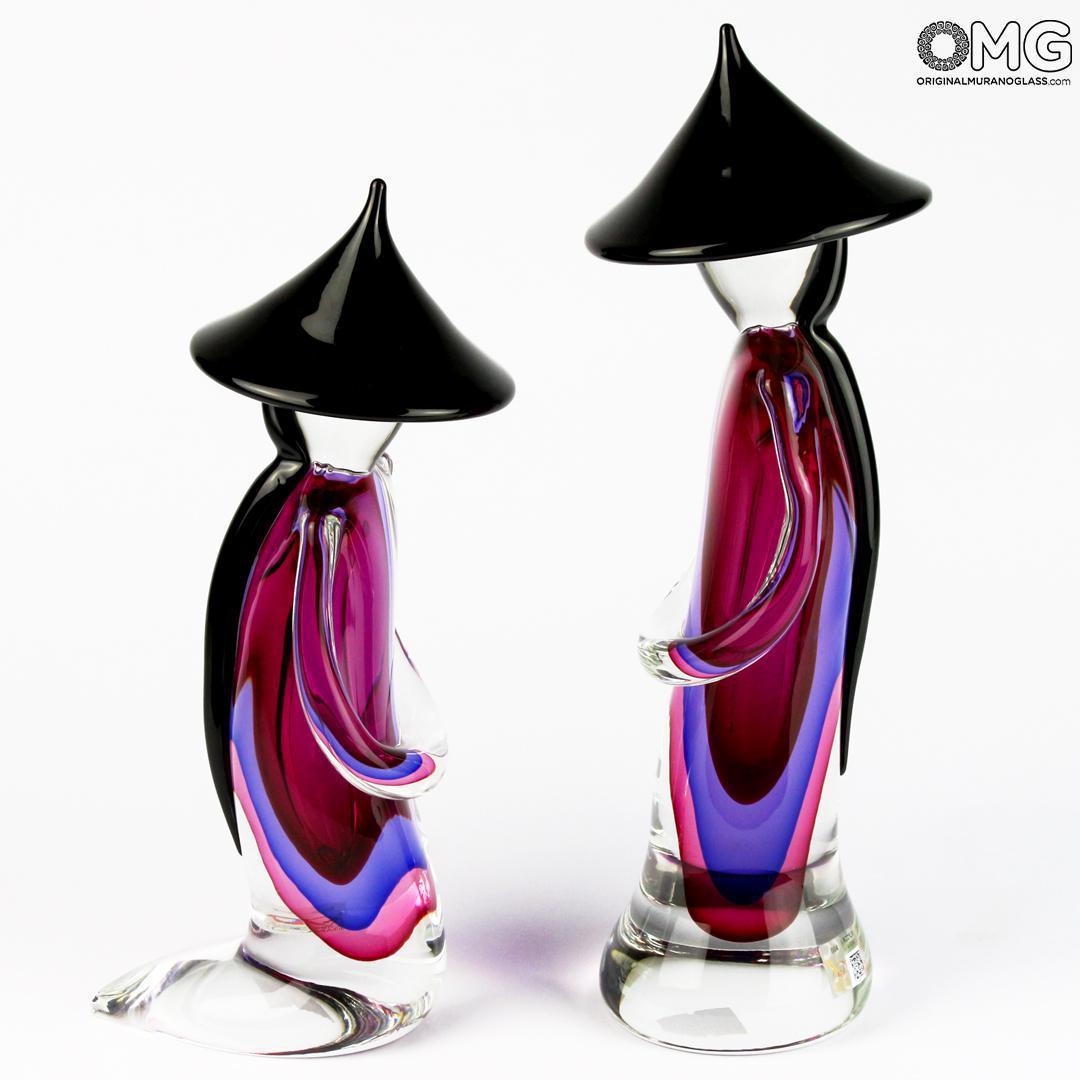 Chinese Couple Purple Sommerso Murano Glass