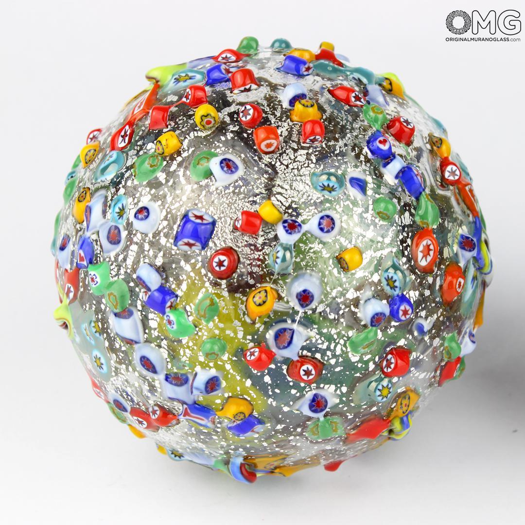 Christmas Ball - silver leaf and millefiori - Murano Glass Xmas