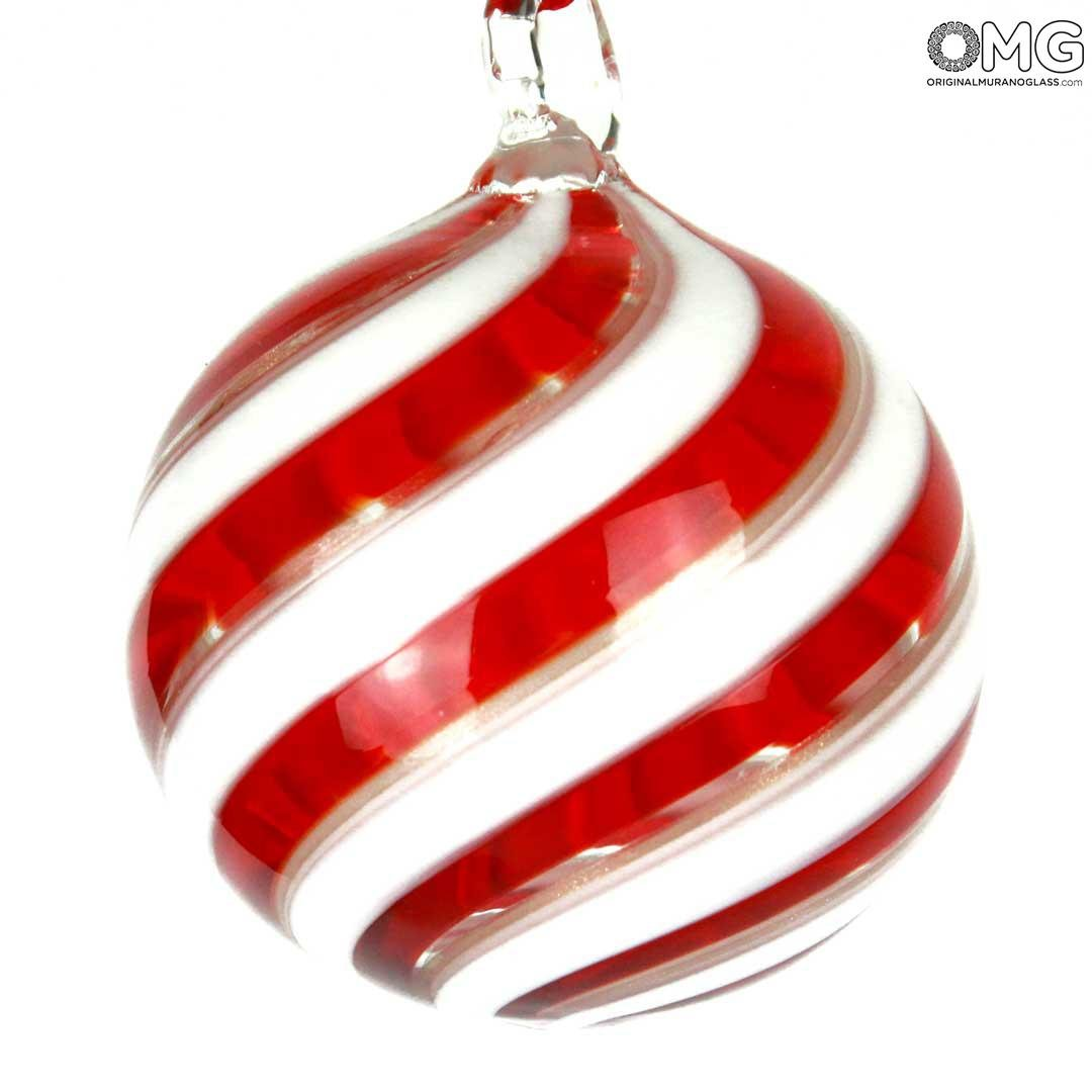 Christmas Ball - Spiral Fantasy Red - Murano Glass Xmas