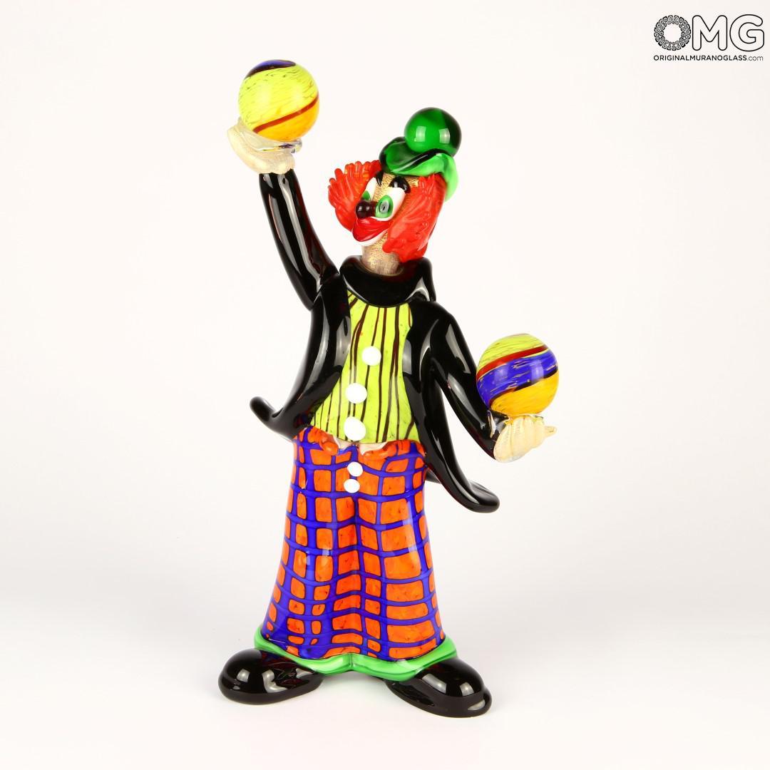 Pagliaccio giocatore con palle - vetro di Murano originale OMG