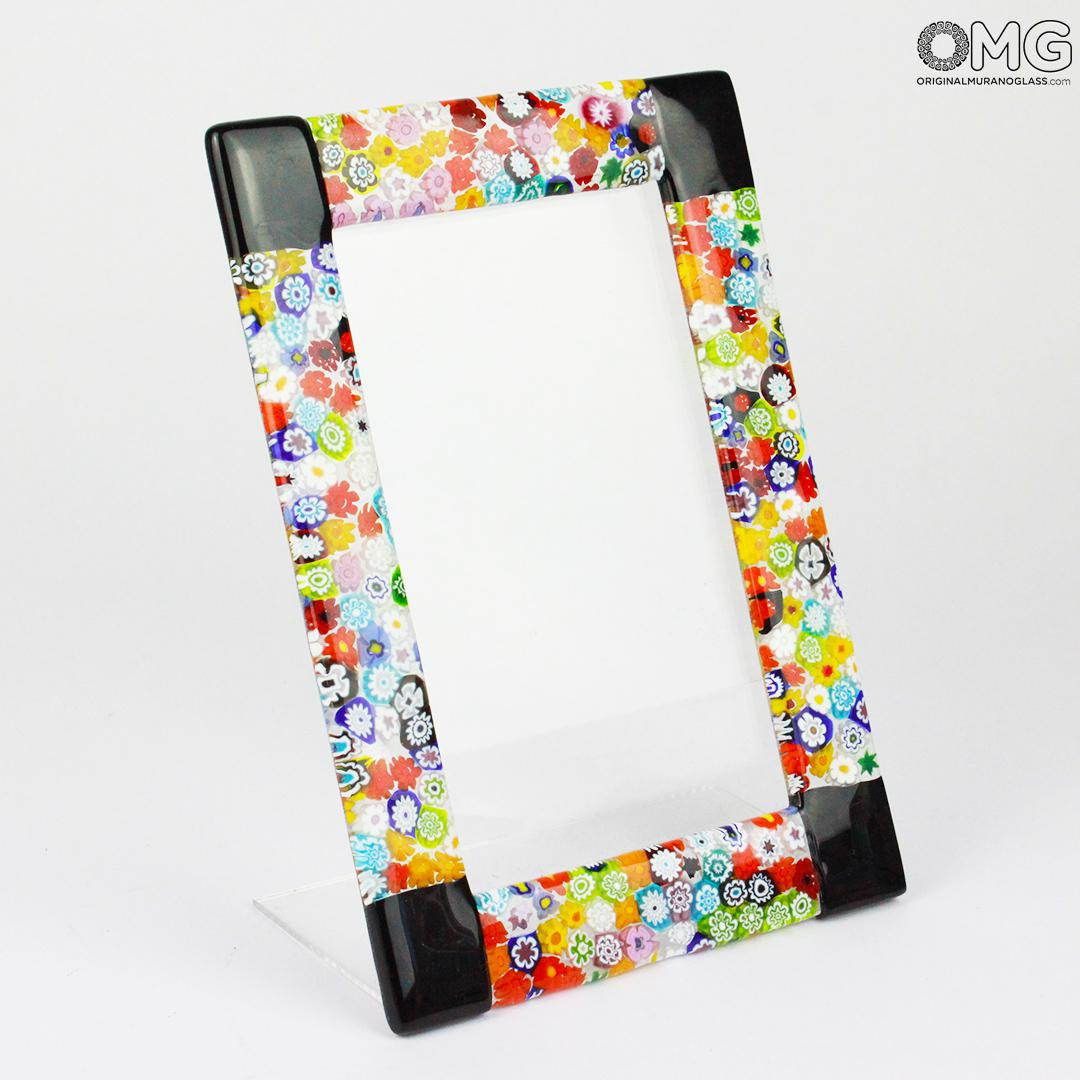 Photo Frame Fantasy Black with Millefiori - fused glass