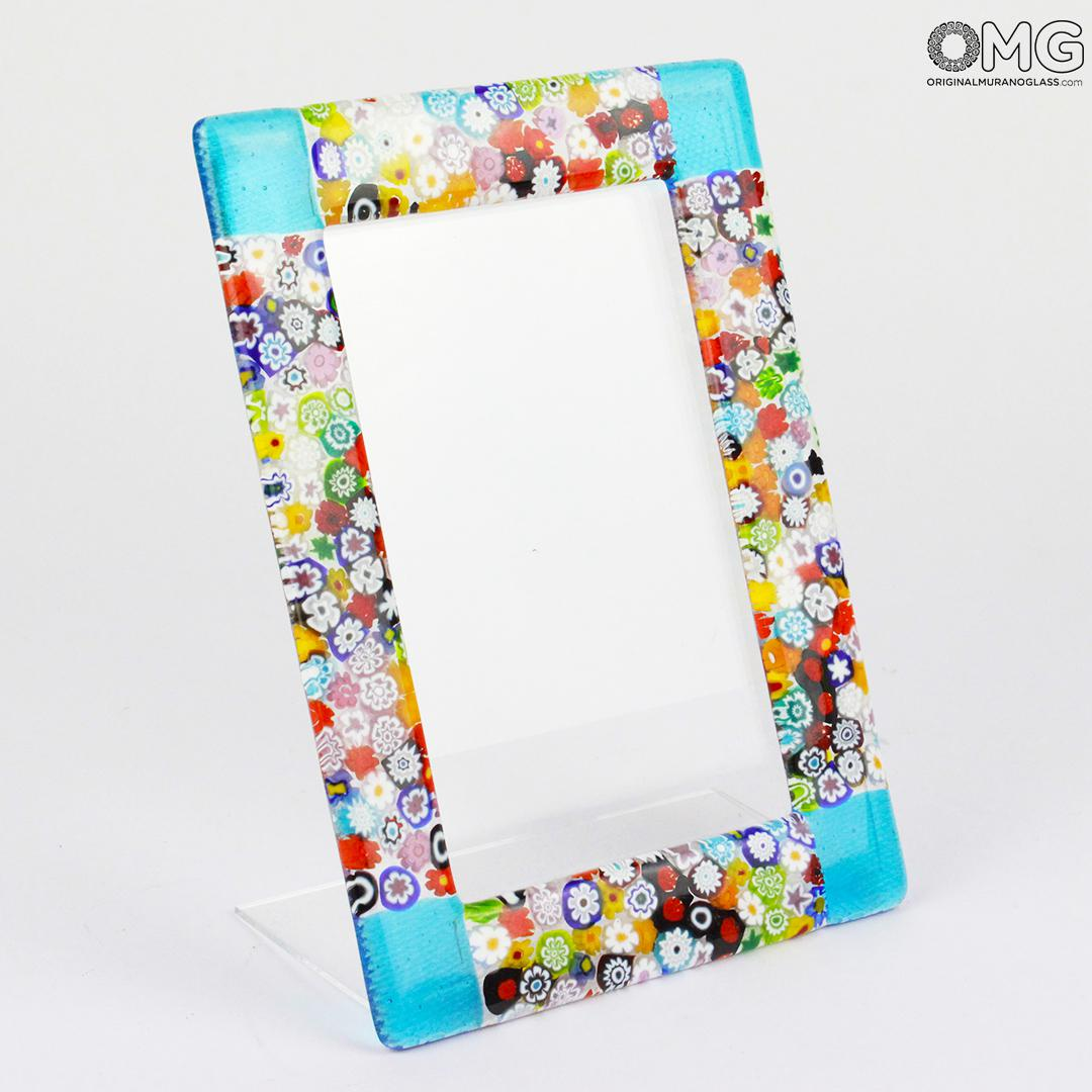 Photo Frame Fantasy Light Blue with Millefiori - fused glass