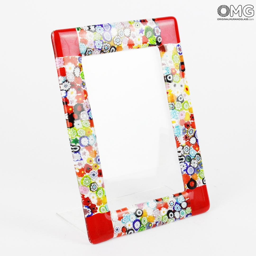 Photo Frame Fantasy Red with Millefiori - fused glass