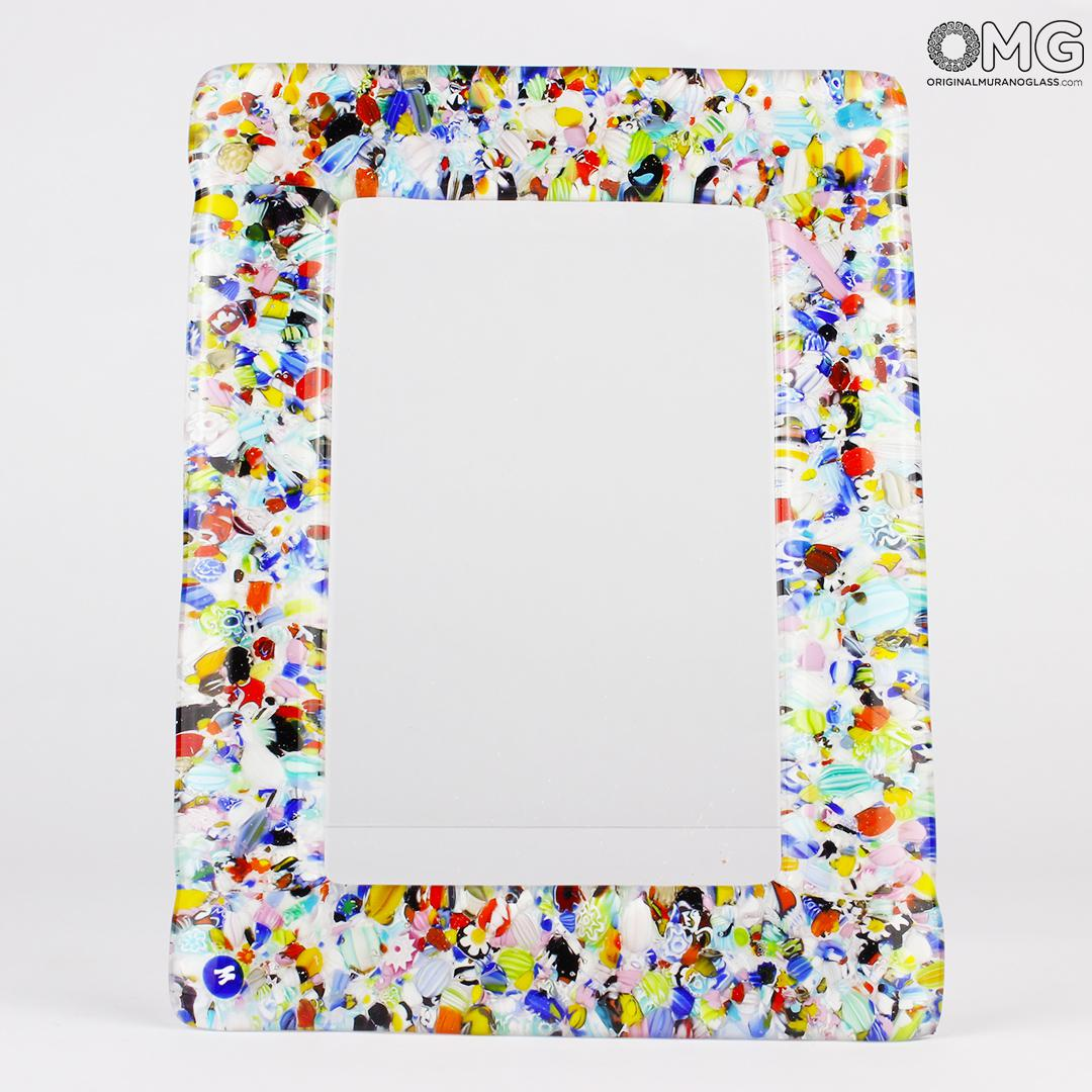 Photo Frame Color Fantasy in White Glass - Fused Murano Glass