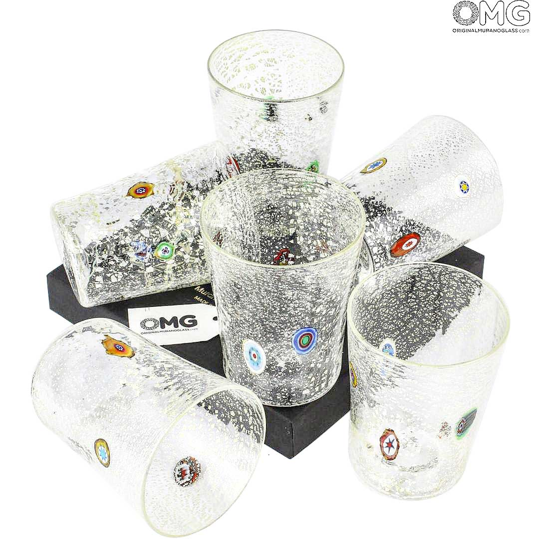 Set of 6 Drinking glasses - Tumblers Sorrento Silver - Goto - Millefiori - Murano Glass
