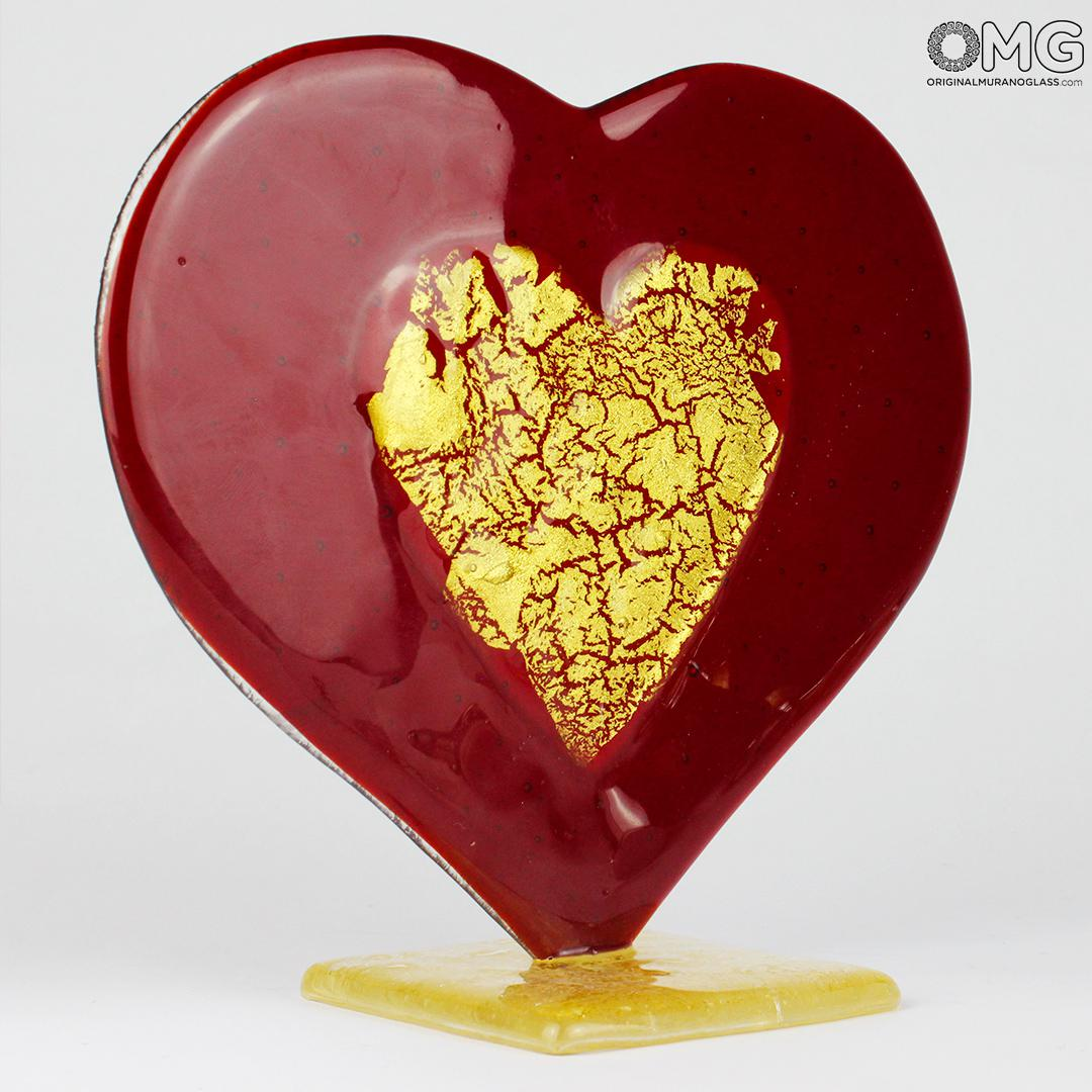 Heart Love - RED glass with pure gold - Original Murano Glass OMG