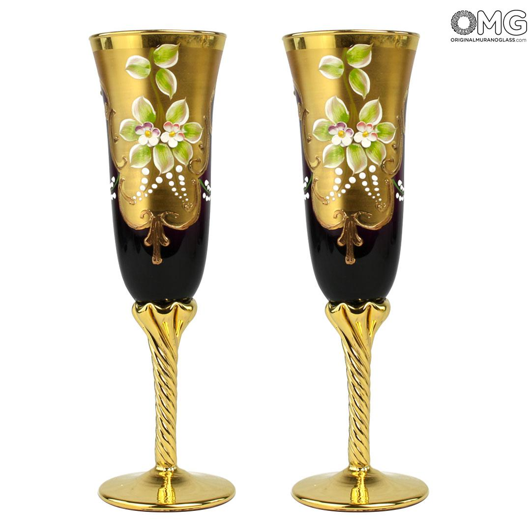 Set of 2 Trefuochi Glasses Flute Dark Purple - You&Me - Original Murano Glass
