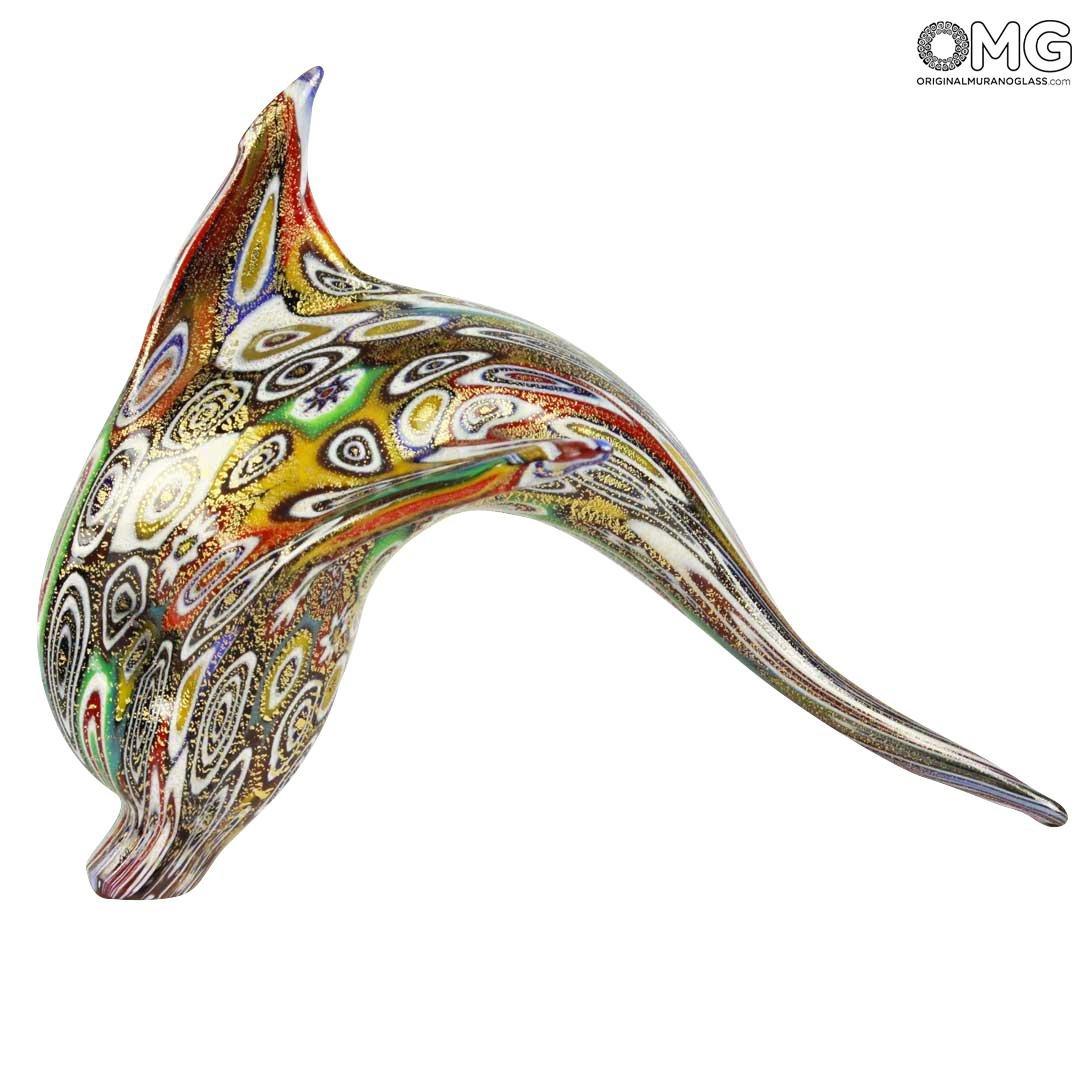 Фигурка дельфина Миллефиори Муррины золото - Delfino  Millefiori Oro - муранское стекло