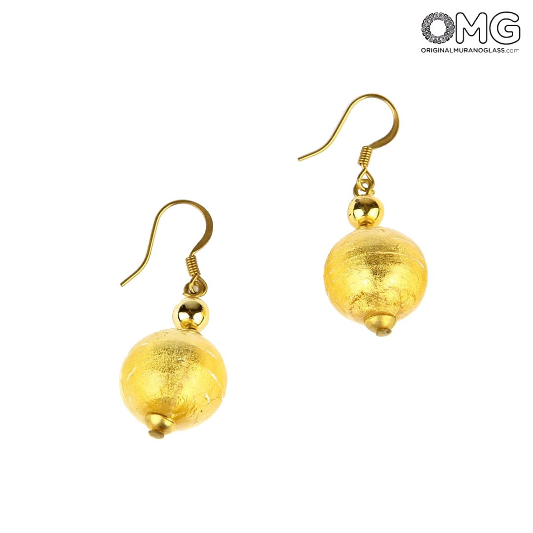 Earrings Stones - With Pure Gold - Original Murano Glass OMG