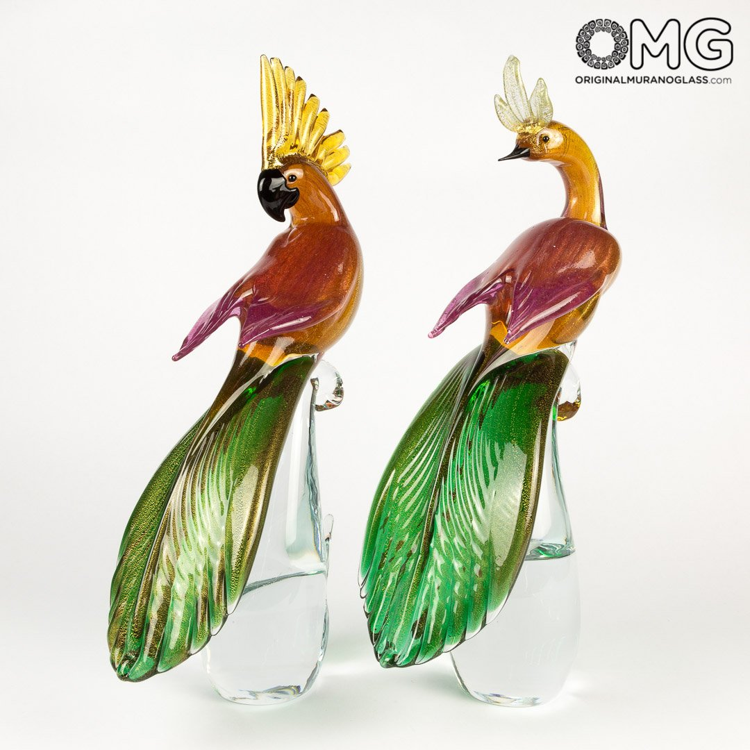 Female Parrot - Glass Sculpture - Original Murano Glass OMG