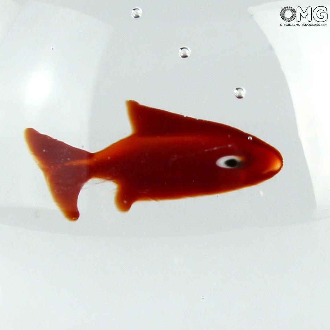 Скульптура Аквариум-сфера с золотой рыбкой - муранское стекло OMG