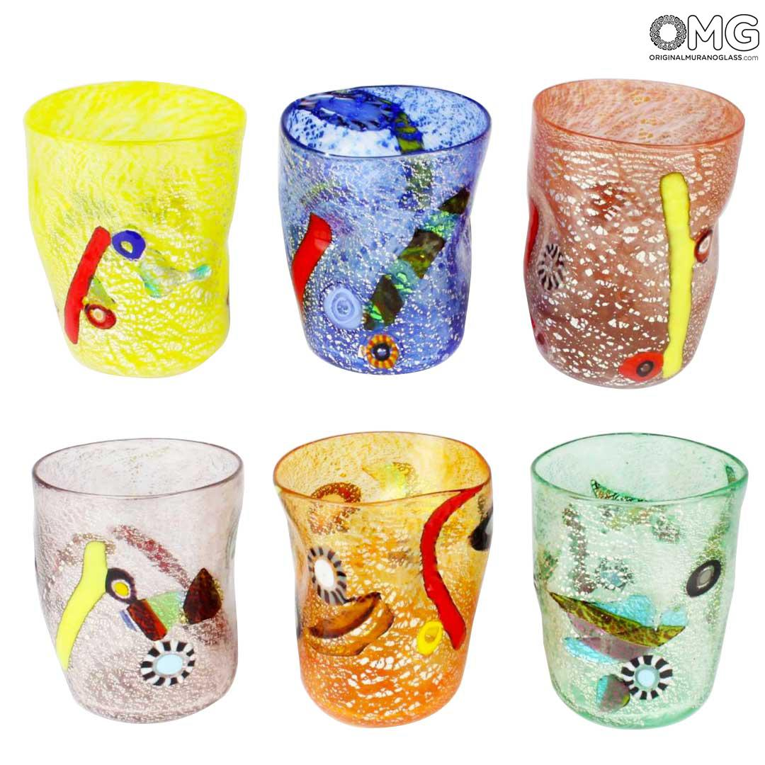 Fruit - Set of 6 Drinking glasses - Mix colors Tumbler Goto - Original Murano Glass