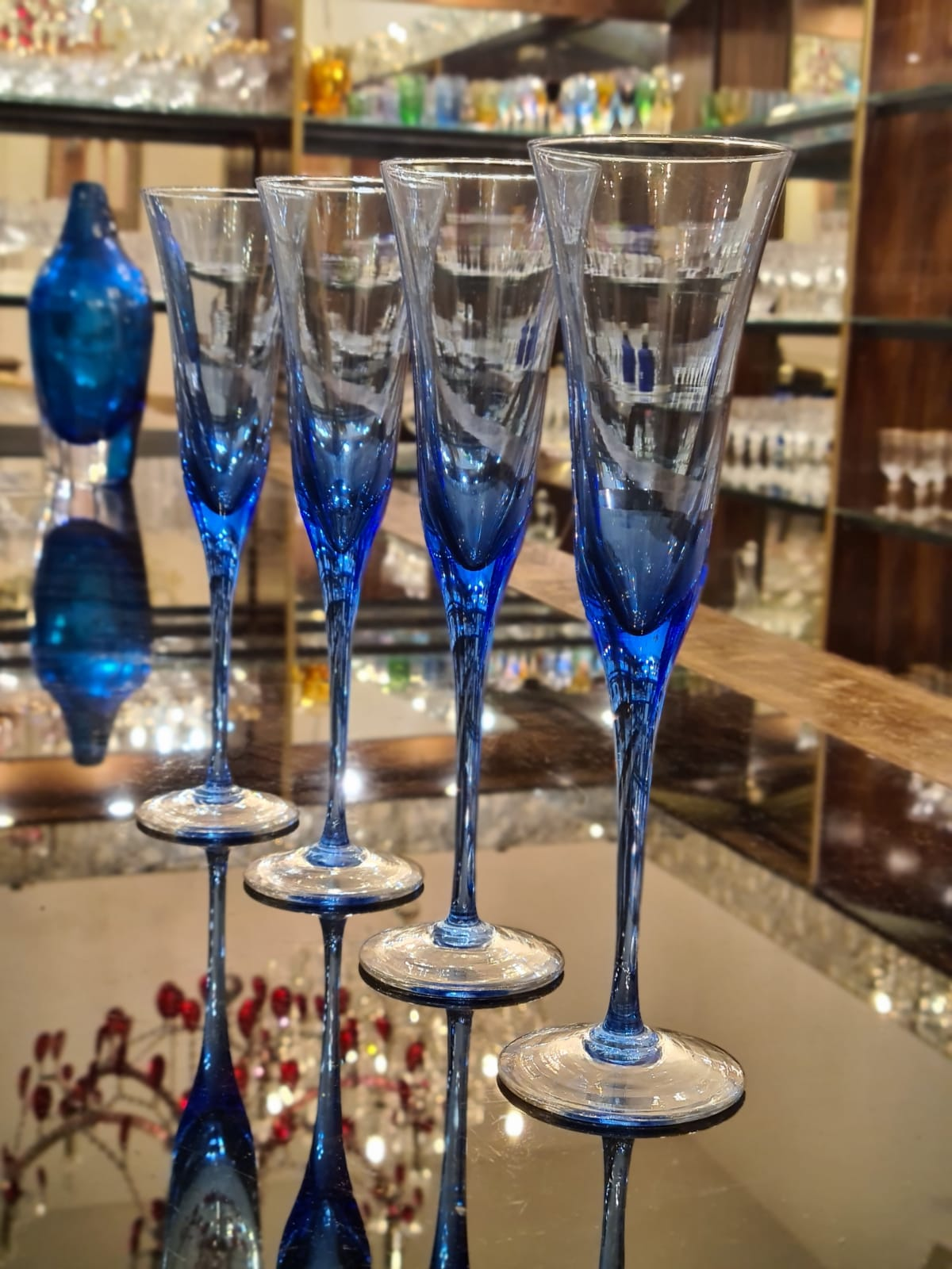 Drinking Glass Blue - Flute Classic