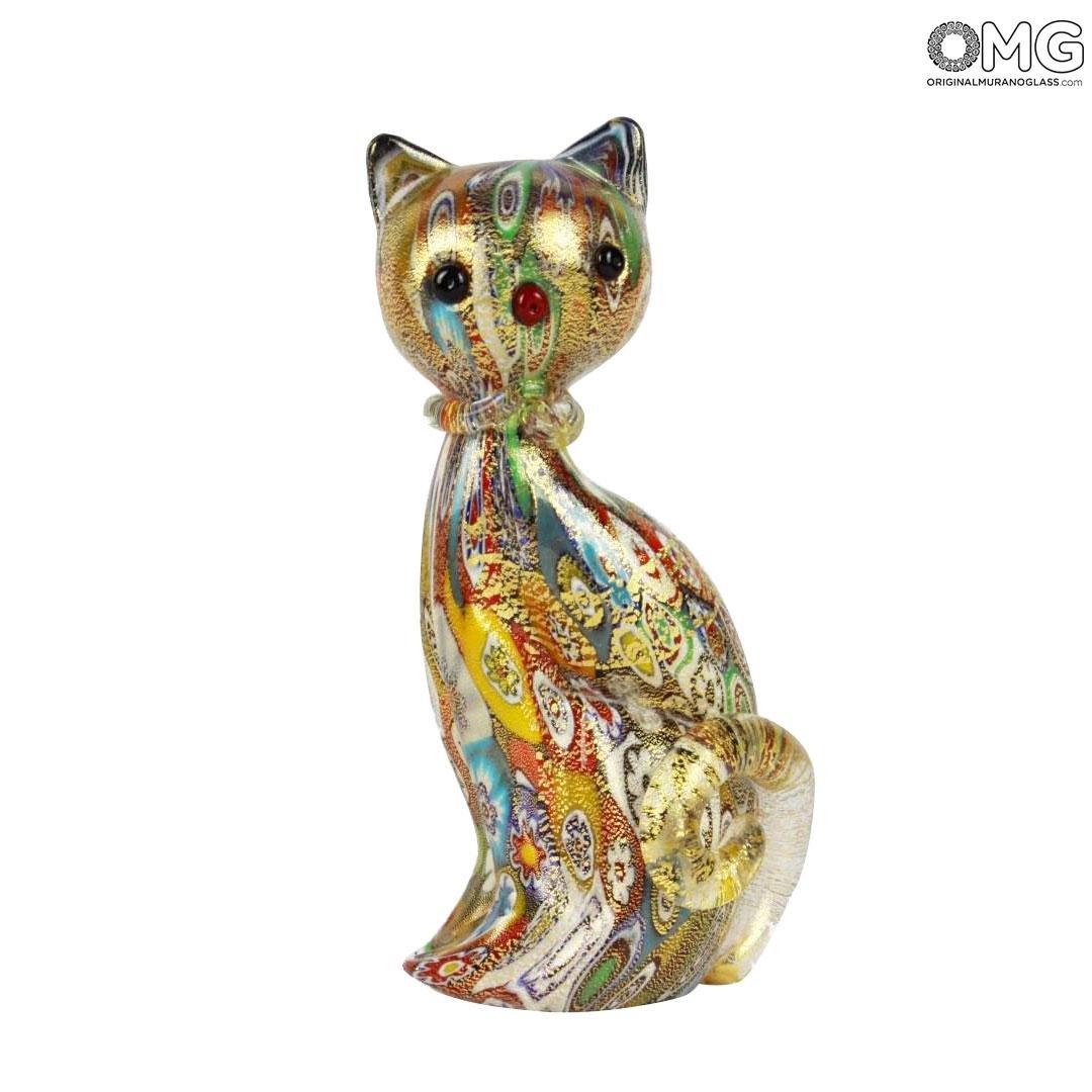 Фигурка кота Миллефиори Муррины золото - муранское стекло OMG