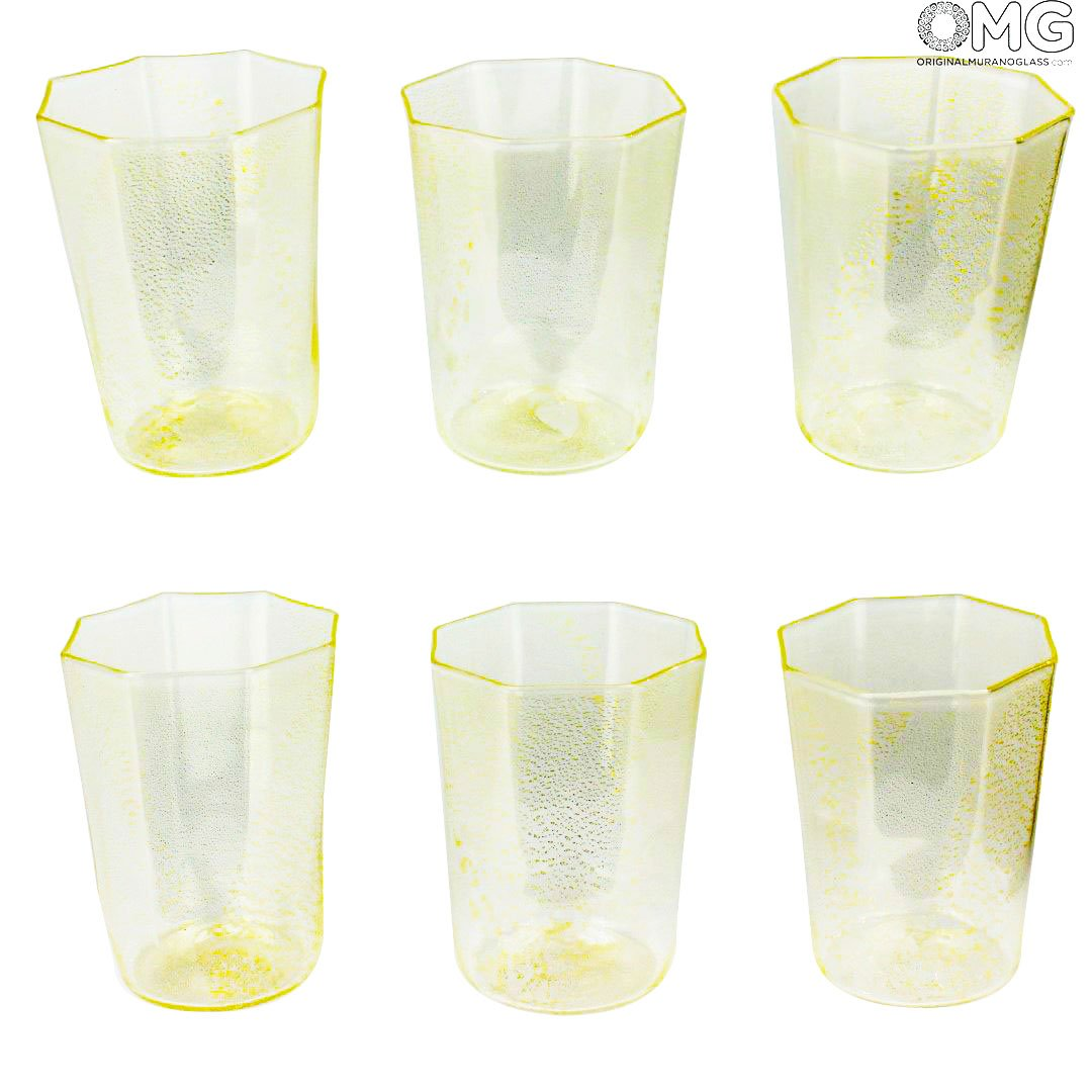 Set of 6 Drinking glasses Octagonal pure Gold 24 carats - Original Murano Glass