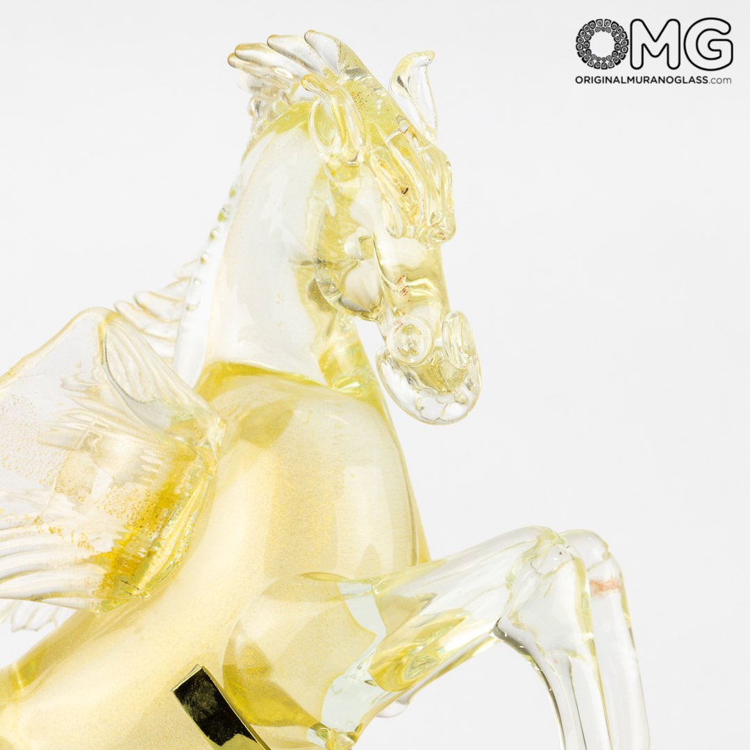Flying Pegaso - pure gold - Original Murano Glass