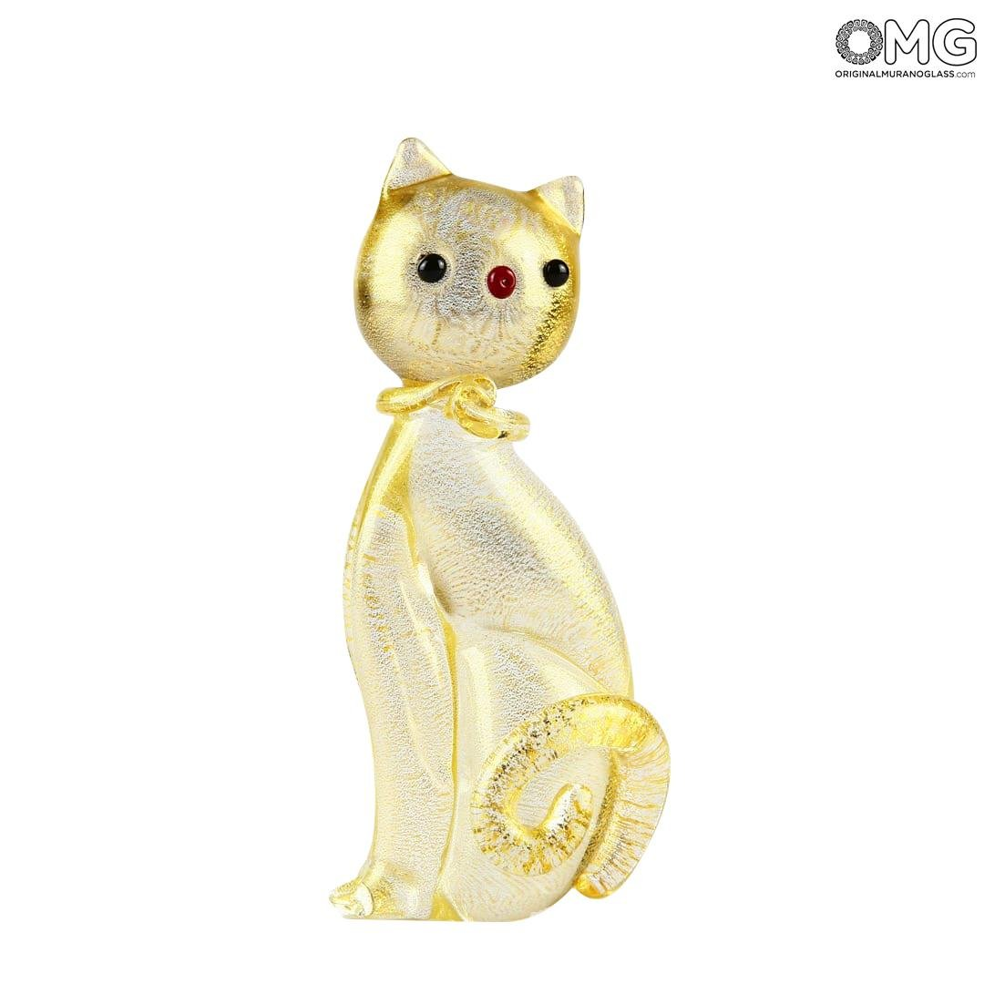 Cat Figurine - in pure Gold - Original Murano Glass OMG