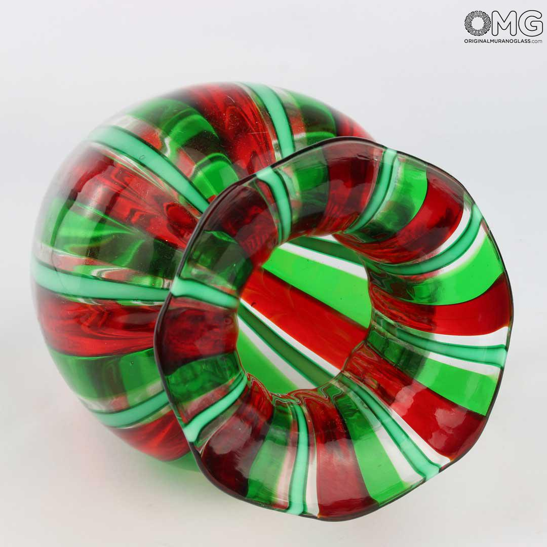 Vase Cannes Green and Red - Original Glass Murano
