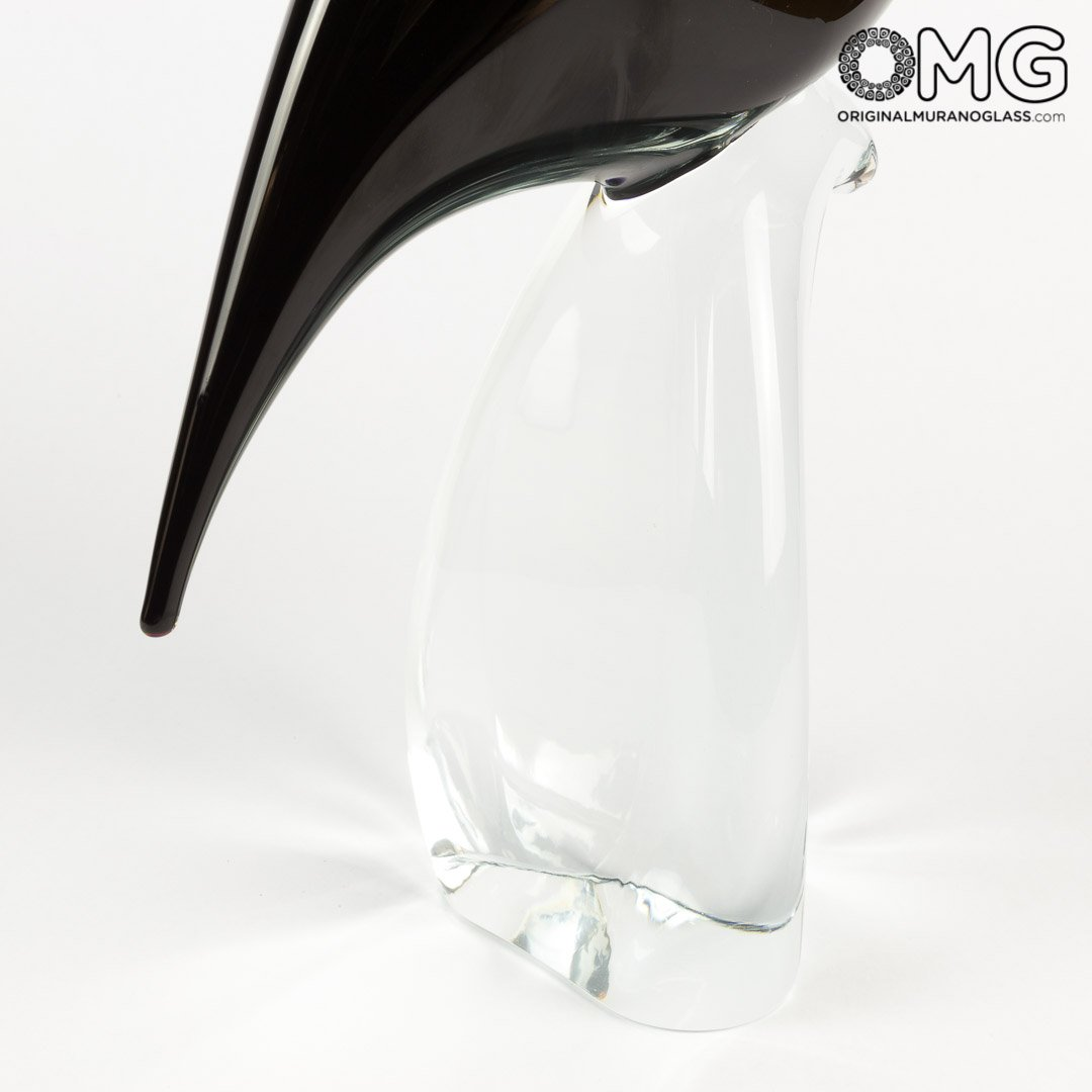 Black Heron Female - Glass Sculpture - Original Murano Glass OMG